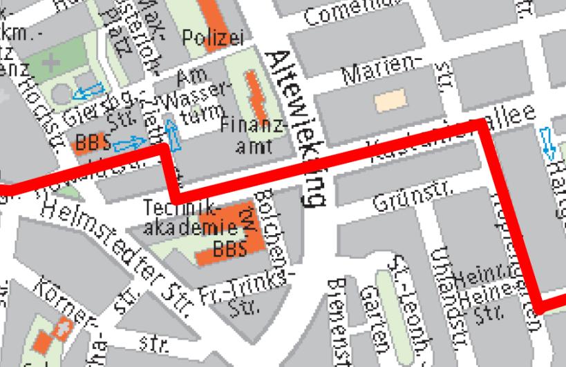 Evakuierungsgebiet, aus der offiziellen Karte