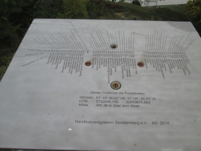 Platte mit Aussichtshinweisen auf der Aussichtsplattform