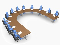 Group Of Blue People Seated And Holding A Meeting At A Large U Shaped Conference Table Clipart Illustration Image
