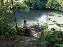 Empfehlenswertes Pausenpätzchen, trotz des am steilen Ufer schwierigen Wegs zur Herrentoilette ;-)